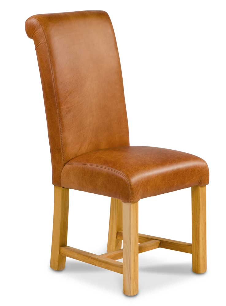 Country Rollback Dining Chair In Aniline Leather